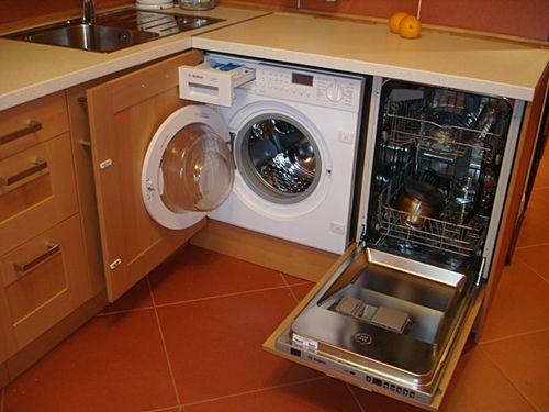 Расположение посудомоечной рядом со стиральной машиной