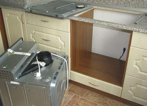 Установка посудомойки в тумбу